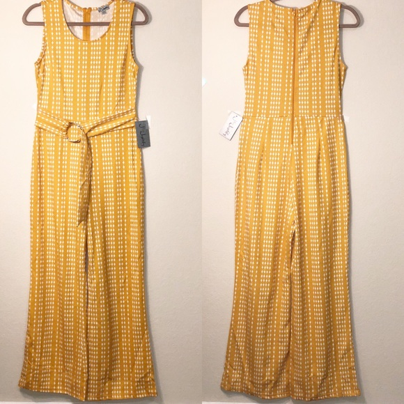 J for Justify Other - 70s style jumpsuit. NWT. Mustard yellow. Retro